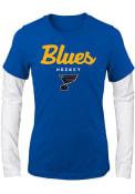 St Louis Blues Girls Navy Blue Fan Essentials Long Sleeve T-shirt