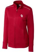 Oklahoma Sooners Womens Cutter and Buck Ridge Full Zip Jacket - Crimson