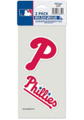 Philadelphia Phillies 2-Pack 4x4 Perfect Cut Auto Decal - Red