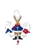 Texas Rangers Wooden Cheering Reindeer Ornament