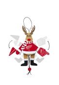 Detroit Red Wings Wooden Cheering Reindeer Ornament