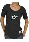 Original Retro Brand Dallas Stars Womens Rounded Bottom Black Scoop T-Shirt