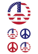 Colonial PEACE SIGN FLAG STICKERS Stickers
