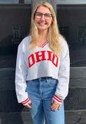 Ohio Women's Grey Wordmark Crop V-Neck Long Sleeve Crew
