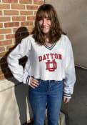 Dayton Flyers Womens Champion Reverse Weave Cropped V-Neck Crew Sweatshirt - Grey