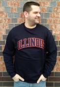 Illinois Fighting Illini Champion Powerblend Twill Crew Sweatshirt - Navy Blue