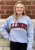 Illinois Fighting Illini Champion Powerblend Twill Crew Sweatshirt - Grey