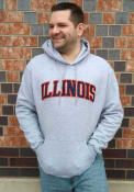 Illinois Fighting Illini Champion Powerblend Twill Hooded Sweatshirt - Grey