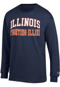 Illinois Fighting Illini Champion Arch Name T Shirt - Navy Blue