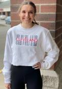 Cleveland Womens Champion Repeating Wordmark Crew Sweatshirt - White