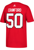 Corey Crawford Chicago Blackhawks Red Name and Number Player Tee