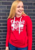Detroit Red Wings Womens Adidas CCM Bottom Stripe Hooded Sweatshirt - Red
