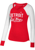 Adidas Detroit Red Wings Womens Red Elbow Patch T-Shirt