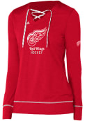 Adidas Detroit Red Wings Womens Red Wordmark Hockey Stitch T-Shirt