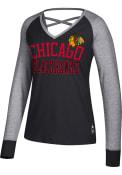 Chicago Blackhawks Womens Adidas Criss Cross T-Shirt - Black