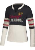 Chicago Blackhawks Womens Adidas Vintage Contrast T-Shirt - Black