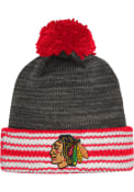 Chicago Blackhawks Adidas Jacquard Stripe Cuff Knit - Charcoal
