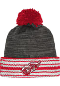 Detroit Red Wings Adidas Jacquard Stripe Cuff Knit - Charcoal
