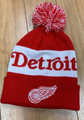 Detroit Red Wings Adidas Culture Cuff Pom Knit - Red