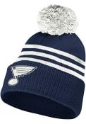 St Louis Blues Adidas 3-Stripe Cuffed Pom Knit - Navy Blue