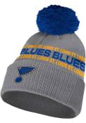 St Louis Blues Adidas Crown Name Cuff Pom Knit - Grey