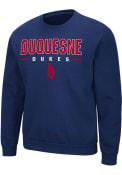 Duquesne Dukes Colosseum Time Machine Crew Sweatshirt - Navy Blue