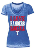 Texas Rangers Womens Blue Love Burnout T-Shirt