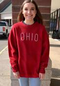 Ohio Womens Red Long Sleeve Corded Crew Sweatshirt