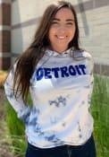 Detroit Womens Blue Tie Dye Long Sleeve Hood Sweatshirt