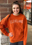 Cleveland Womens Orange Wordmark Long Sleeve Crew Sweatshirt