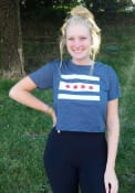 Chicago Women's Denim City Flag Cropped Short Sleeve T-Shirt
