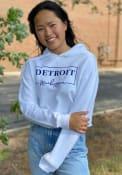 Detroit Women's White Box Wordmark Cropped Long Sleeve Lightweight Hood
