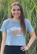 Cleveland Women's Stonewash Denim Knockout Cropped Short Sleeve T-Shirt
