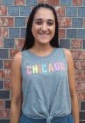 Chicago Women's Grey Heather Multi Color Wordmark Tank Top