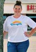 Cleveland Women's Rainbow Cropped Short Sleeve T-Shirt - White