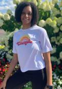 Cincinnati Women's Rainbow Cropped Short Sleeve T-Shirt - White