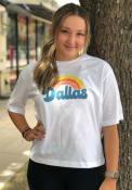 Dallas Women's Rainbow Cropped Short Sleeve T-Shirt - White