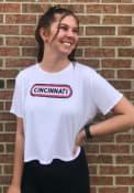 Cincinnati Women's White Ombre Oval Cropped Short Sleeve T-Shirt