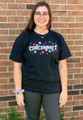 Cincinnati Women's Wordmark Stars Short Sleeve T-Shirt - Black