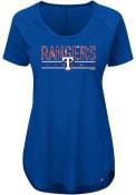 Majestic Texas Rangers Womens Tough Decision Blue Scoop T-Shirt