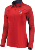 St Louis Cardinals Womens Majestic Extremely Clear 1/4 Zip - Red