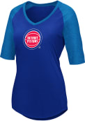 Detroit Pistons Womens Majestic Victory Directive V Neck T-Shirt - Blue