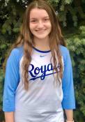 Kansas City Royals Womens Nike Tri Raglan T-Shirt - White