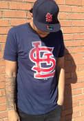 St Louis Cardinals Majestic Slash and Dash T Shirt - Navy Blue