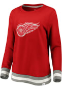 Detroit Red Wings Womens Retro Stripe Fleece Crew Sweatshirt - Red