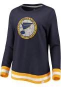 St Louis Blues Womens Retro Stripe Fleece Crew Sweatshirt - Navy Blue