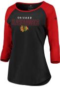 Chicago Blackhawks Womens 3/4 Raglan T-Shirt - Black