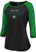 Dallas Stars Womens 3/4 Raglan T-Shirt - Black