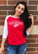 Detroit Red Wings Womens 3/4 Raglan T-Shirt - Red
