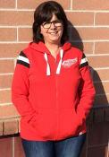 Detroit Red Wings Womens Retro Stripe Fleece Full Zip Jacket - Red